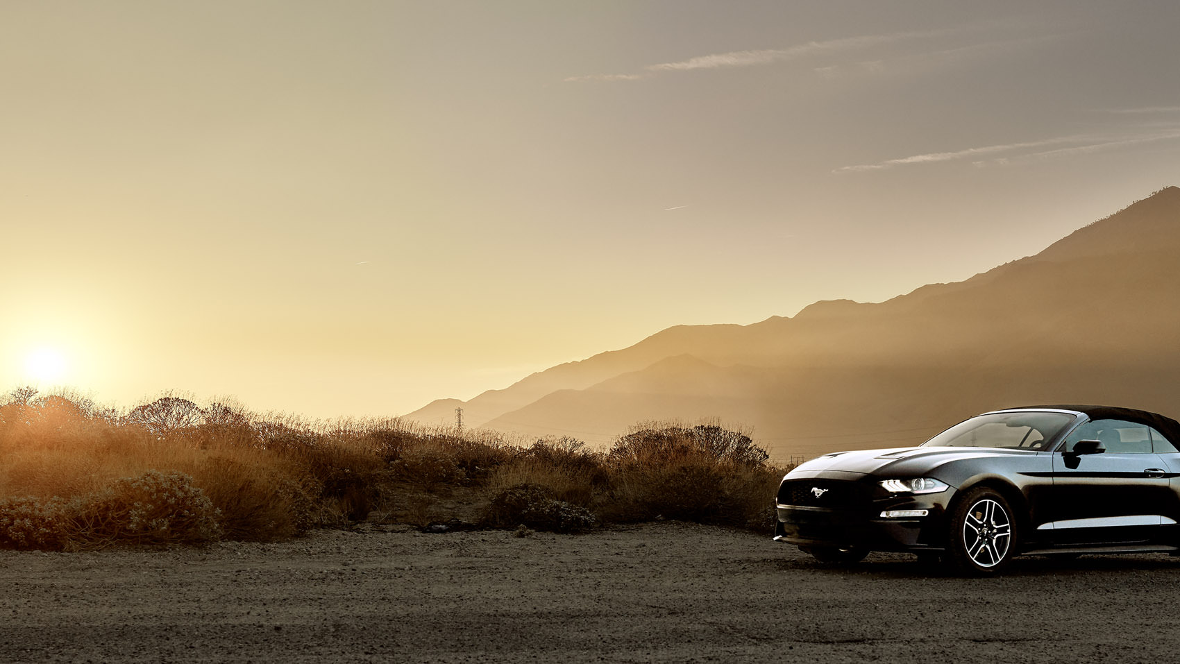 Ford Mustang convertible in the Desert at Sunset